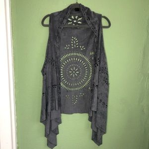 Boho Gray Duster Vest for Festival Season One Size